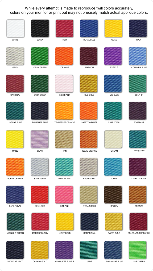 Tackle Twill Fabric Swatches